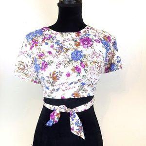 Sabo Skirt Cream Violet Floral Open Back Crop Top